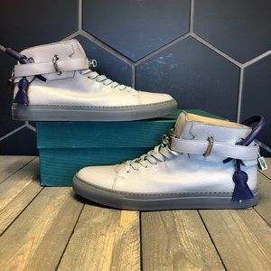 Buscemi 100MM Leather Chrome Buckle Grey Size 13